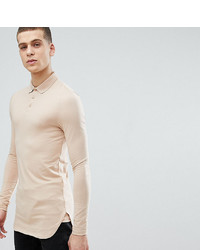 ASOS DESIGN Tline Long Sleeve Muscle Fit Polo With Bound Curved Hem In Beige