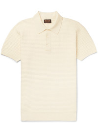 Tod's Basketweave Knitted Stretch Cotton Polo Shirt