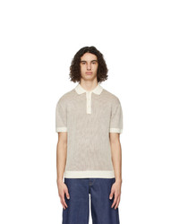King and Tuckfield Off White And Brown Wool Ribbed Polo
