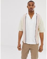 ASOS DESIGN Oversized Button Through Revere Polo Shirt With Half Sleeve In Vertical Colour Block