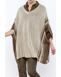 Cupcakes Cashmere Olive And Sand Poncho