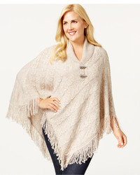 Karen Scott Plus Size Knit Fringe Hem Poncho Only At Macys
