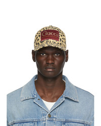 Gucci Beige And Black Label Baseball Cap