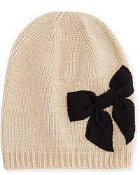 New york stitched bow slouchy beanie deco beige medium 94993