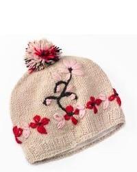 Sijll Embroidered Flower Pom Pom Wool Beanie Hat