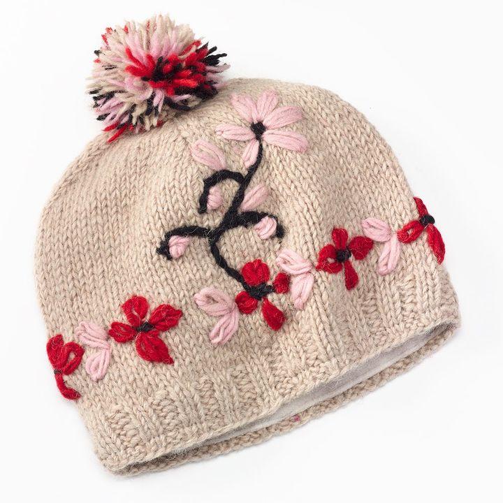 f0b00b41f11 Sijll Embroidered Flower Pom Pom Wool Beanie Hat