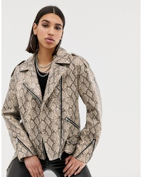 Missguided Faux Leather Biker Jacket In Snake