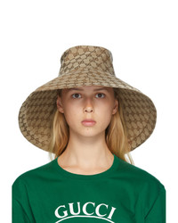 Gucci Beige Canvas Gg Wide Brim Hat