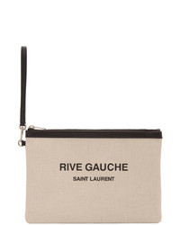 Saint Laurent Off White Canvas Rive Gauche Pouch