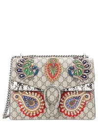 Gucci Dionysus Gg Supreme Embroidered Coated Canvas Shoulder Bag
