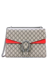 Gucci Dionysus Gg Supreme Medium Coated Canvas And Suede Shoulder Bag