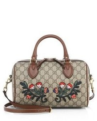 Gucci Embroidered Gg Supreme Canvas Top Handle Bag