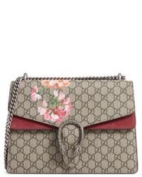 Gucci Large Floral Gg Supreme Canvas Suede Shoulder Bag Beige