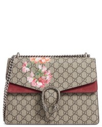 Gucci Large Floral Gg Supreme Canvas Suede Shoulder Bag