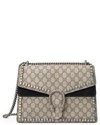 Gucci Medium Dionysus Crystal Embellished Gg Supreme Canvas Suede Shoulder Bag Beige