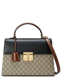 Gucci Medium Padlock Top Handle Gg Supreme Canvas Leather Bag None
