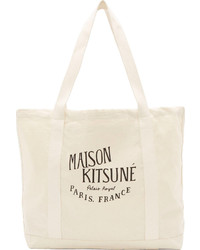 Beige Print Canvas Tote Bag