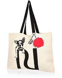 River Island Beige Bulldog Puppy Shopper Tote Bag