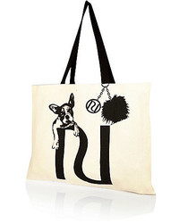 River Island Beige French Bulldog Print Canvas Tote Bag