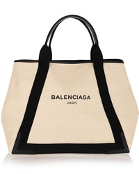 Balenciaga Cabas M Leather Trimmed Canvas Tote