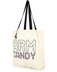River Island Cream Arm Candy Print Canvas Shopper