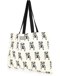 River Island Cream Pug Print Canvas Shopper