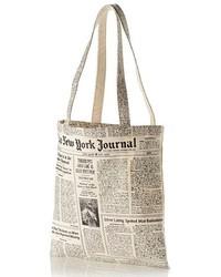Kate Spade New York Newspaper Print Canvas Shopping Tote Black