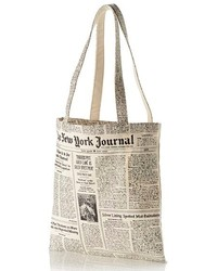 New york newspaper print canvas shopping tote black medium 212835