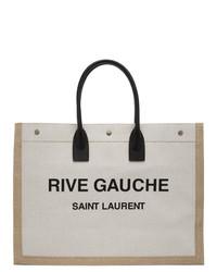 Saint Laurent Off White And Tan Rive Gauche Noe Tote