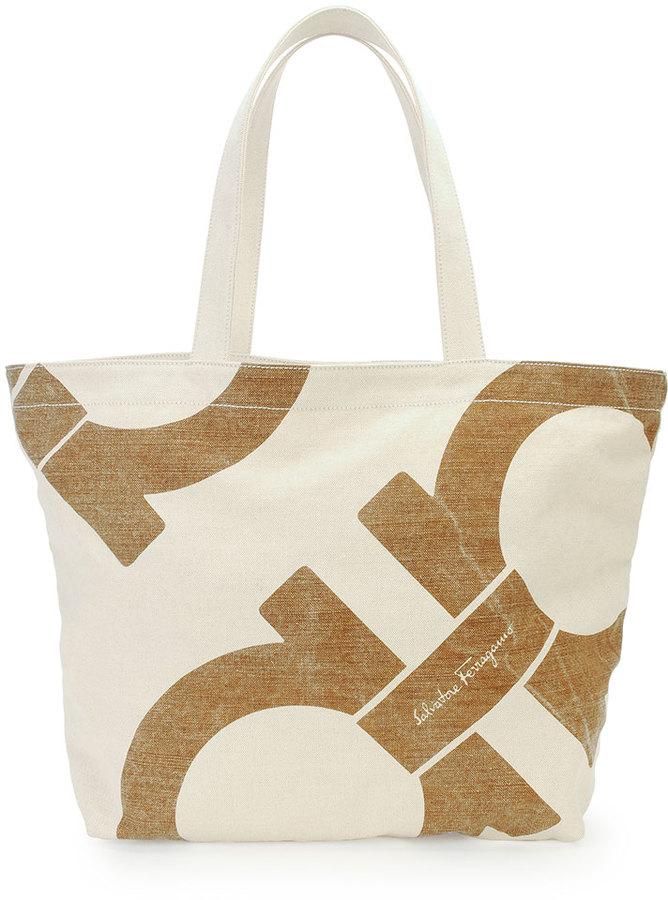 Salvatore Ferragamo Mustique Canvas Beach Bag Gray | Where to buy ...