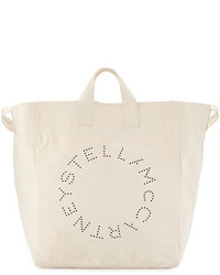 Stella McCartney Logo Print Canvas Beach Tote Bag