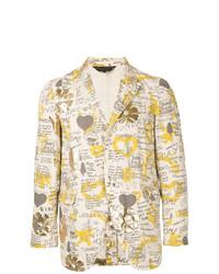 Comme Des Garçons Vintage Printed Pinstripe Blazer