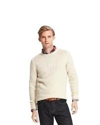 Beige Print Crew-neck Sweater