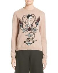 Valentino Tattoo Intarsia Wool Cashmere Sweater