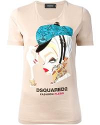 Beige Print Crew-neck T-shirt