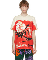 Marni Beige Red Printed Graphic T Shirt