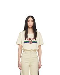 Gucci Beige Sequin Vintage Logo T Shirt