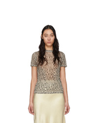 Nanushka Black And Beige Mesh Zebra Guy T Shirt