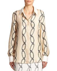 Silk printed button front shirt medium 229810