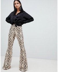 Missguided Flare Trousers In Snake Print