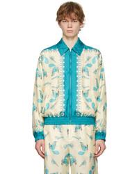 Gucci Off White Blue Freya Hartas Edition Silk Jacket