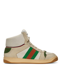 Gucci White Screener High Top Sneakers