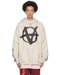 Vetements Beige Anarchy Gothic Logo Hoodie