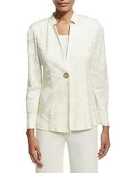 Misook Notch Collar Ribbon Print Jacket Cream Petite
