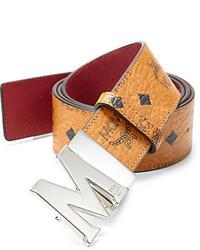 Beige Print Leather Belt