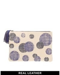 Beige Print Leather Clutch