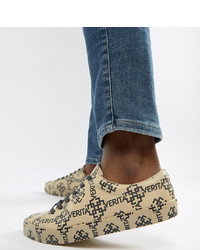 Beige Print Leather Low Top Sneakers