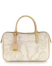 Beige Print Leather Satchel Bag