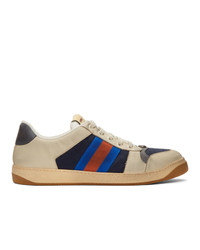 Gucci Off White And Navy Gg Screener Sneakers