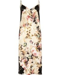 Beige floral print slip dress medium 1291585